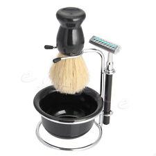 Men Shave Set Kit Stainless Straight Razor Beard Shaving Brush Stand Soap Bowl
