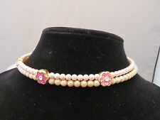 Pink Pearl and Rhinestone Wire Choker Necklace - 607