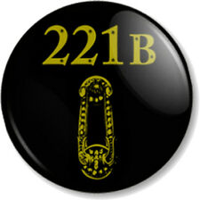 "221B BAKER STREET 25mm 1"" Pin Button Badge Sherlock Holmes Front Door & knocker"