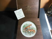 Lenox Boehm Woodland Wildlife Series Plate 1974 Red Foxes Cobalt Blue Border