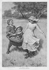 A Heavy Load by Fred Morgan; Children with Apple Harvest Antique Print 1892