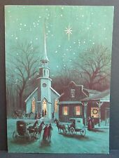 Vintage Famous Artist Studios Christmas Greeting Card Church Horse & Carriage