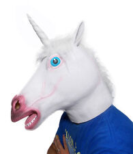 White Latex Rubber Unicorn Mask Horse Head Mask for Halloween Cosplay Party