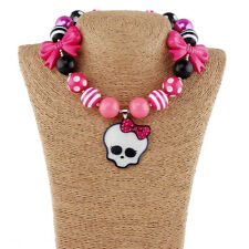 New Pink Skull Skeleton Halloween Pendant Chunky Gumball Bubblegum Bead Necklace