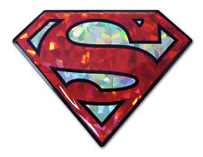 Superman Symbol Red & Silver Reflective Domed Auto Decal [NEW] Emblem Car