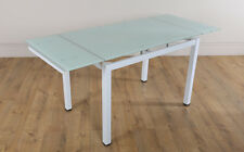 Space White Glass Extending Dining Room Table 110-170