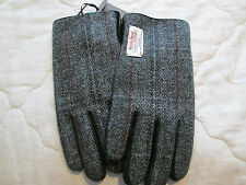 HARRIS TWEED LEATHER BLACK GLOVES OUTER HEBRIDES size large/ extra large
