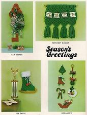1980 Macrame Christmas Wall Hanging Banner & Ice Skate in Yule Tied Book Pd1142