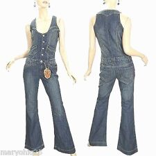 NWT Women Vanilla Star Blue Denim Jeans Jump suit Over-all Vintage 70's 80's XS