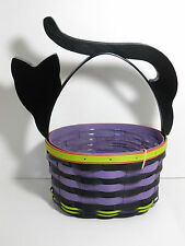 Longaberger 2015 Halloween Cat Basket w/ Protector, Purple / Black Stripe / New