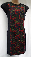 TED BAKER ✩ TED SIZE 3 UK 12 ✩ NAVY LUSKI CHERRY PRINT BODYCON STRETCHY DRESS