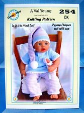 """DOLLS KNITTING PATTERN  for  Anabell  No 254 17""""-19"""" doll A Val Young Pattern"""