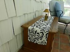 Table Runner Topper Black Damask for Holiday Wedding Birthday Shower Event Party