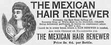 MEXICAN HAIR RENEWER - Antique Victorian Advert 1893
