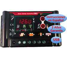 Regulador de Carga Solar 30A 12v/24v Pantalla LCD Programable Regulator Español