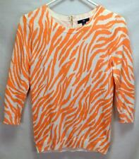 Womens GAP Cream and Coral Pink Zebra Striped Sweater Size XS