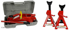 2 Ton Solid Hydraulic Trolley Floor Jack + 3 Ton Axle Stand Lifting Car Van Set