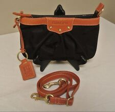 Ellington Black Nylon Leather Trim Shoulder Handbag Purse Clutch Ruched UNUSED