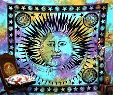 Traditional Indian Hand-Loomed Sun Mandala Tapestry Tie Dye Wall Hanging Throw