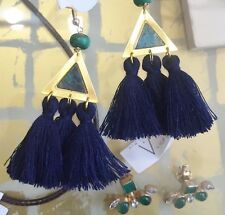 One Of A Kind Blue Tassel Triangle Brass Turquoise & Calsilica Fringe Earrings