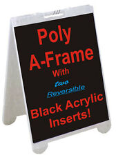"""25"""" x 45"""" ALL WEATHER Poly Plastic A-FRAME Sign + 2 Rev. Black Acrylic Panels"""
