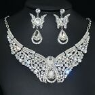 YT254 Clear Rhinestone Crystal Earrings Necklace Set Bridal Party Gift