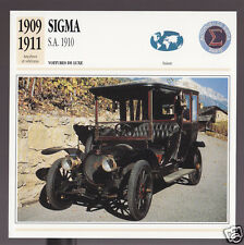1909 1910 1911 Sigma S.A. (SS) Switzerland Car Photo Spec Sheet Info French Card