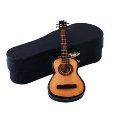 1:12 Mini Acoustic Guitar Wooden Miniature Musical Dollhouse With Case