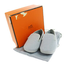 Authentic HERMES Logos Baby Shoes Gray Angora Laine Vintage France Box V05606