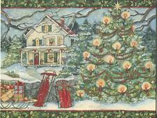 1 CHRISTMAS TREE HOUSE CANDLE SNOW SLEIGH CARD 1 ANTIQUE PORCELAIN DOLL PRINT