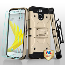 GOLD BLACK 3 IN 1 Kinetic HYBRID SKIN COVER CASE + FILM/CLIP/STAND FOR HTC BOLT