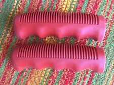 "NOS Vintage Red BLUEMELS 3-Speed SOFT RUBBER GRIPS  4 1/8"" ENGLISH MADE"