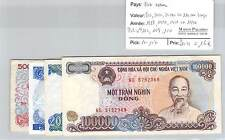 4 BILLETS VIET NAM - 500 / 5.000 / 20.000 / 100.000 DONGS - 1988/1991/1991/1994