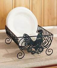 Country Rooster Metal Drying Dish Rack Holder Counter Accent Decor