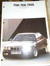 BMW 730i, 735i & 735iL Colour & Upholstery brochure 1989
