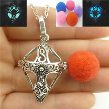 Vintage Glow in the Dark Cross Locket Necklace Perfume Essential Oil Diffuser