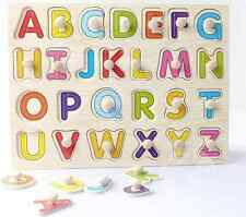 Wooden alphabet letter peg puzzle toy gift Montessori early learning educational