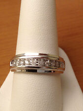 fWhite Gold Mens Wedding Anniversary Round Diamonds Ring Band Channel Set SALE