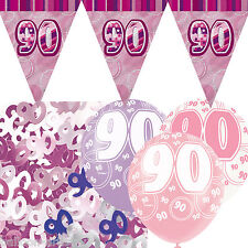 Pink Silver Girl Glitz 90th Birthday Flag Banner Party Decoration Pack Kit Set