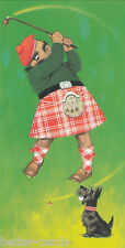 Happy Christmas Vintage 1970s Greeting Card - Merry Scottish Terrier Golfer Dog