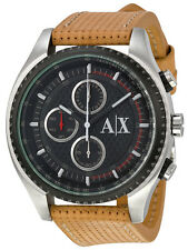 Armani Exchange AX1608 Black Dial Brown Leather Strap Chronograph Men's Wat