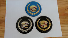 Cadillac Wire Wheel Cover Center Cap Medallions, 4pc Set BLUE OR BLACK INS