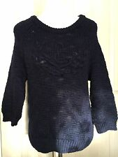 Jack Wills Women Navy 100% Wool Sweater Jumper UK10
