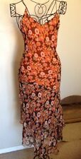 Vintage Sheer Silk Black Orange FLORAL MAXI DRESS BOHO Spaghetti Tiered Medium