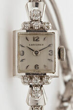 Antique 1940s RETRO 14k White Gold LONGINES .50ct VS G Diamond Ladies Watch WARR