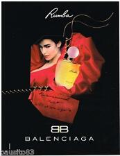PUBLICITE ADVERTISING  105  1992    BALENCIAGA  parfum femme RUMBA