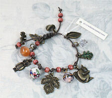 DISASTER DESIGNS Charm Bracelet Wild Wood Owl Acorn Oak Leaf Squirrel BNWT