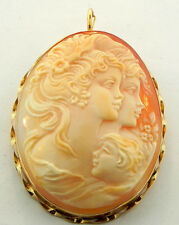 M&M SCOGNAMIGLIO 14K HAND CARVED SHELL PIN PENDANT LARGE NEW
