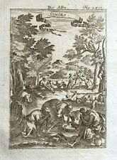 AFRICA, MONKEYS, NATIVES, Mallet original antique print 1719
