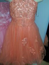 Girls Toni by Tony Bowls Coral Tulle and Lace Formal Occasion Dress Size 14